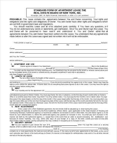 Rental Lease Form Samples   Free Documents In Word Pdf