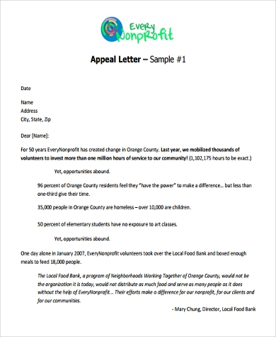 Sample Appeal Letter Format - 9+ Free Documents in Word, PDF