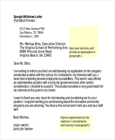 appeal withdrawal letter format