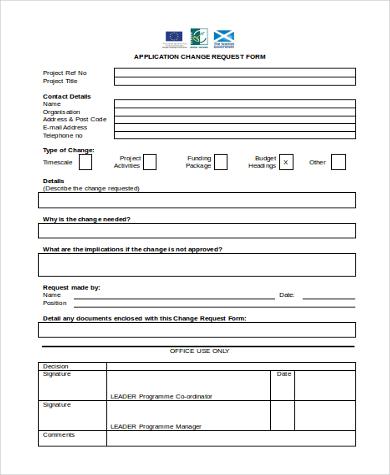 application change request form