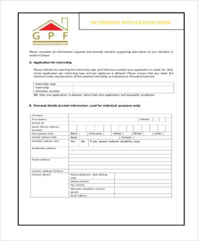 application form for internship sample
