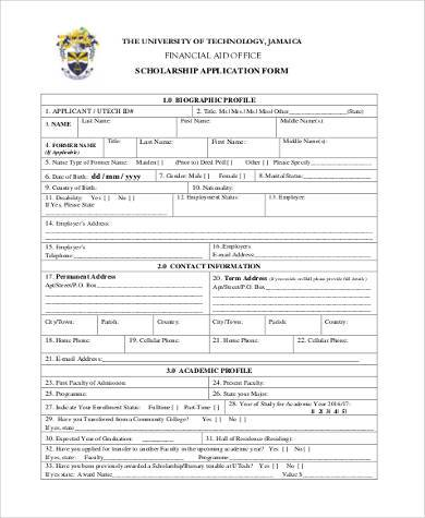 application form for scholarship