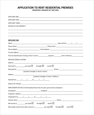 application to rent residential