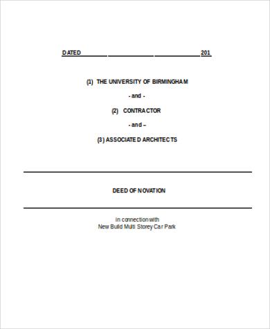 architect novation agreement