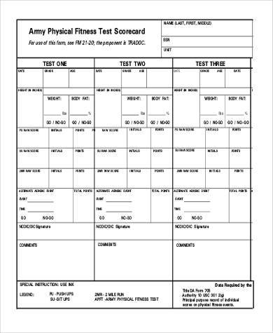 army physical fitness form