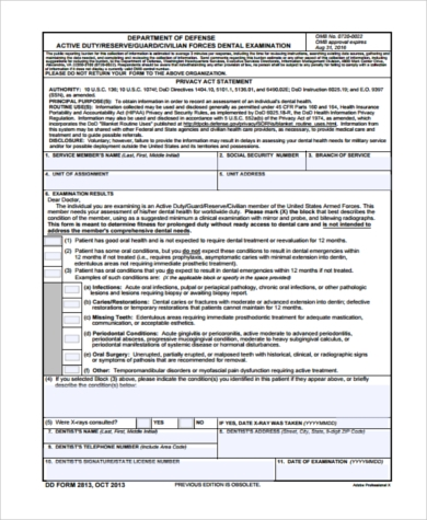 army reserve dental form example