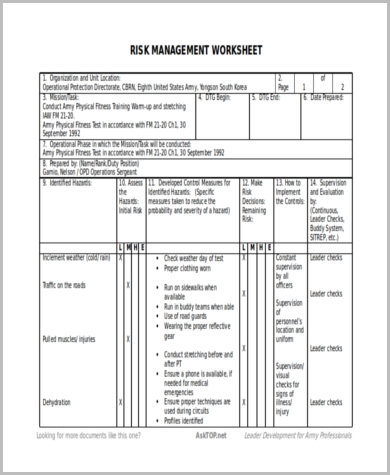 Sample Army Risk Assessment Forms   Free Documents In Pdf Word