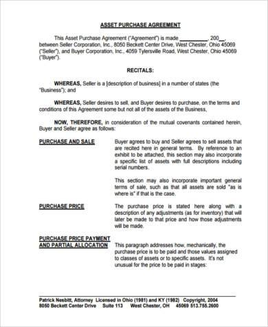 asset agreement form in pdf