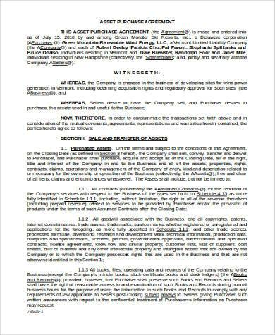 asset agreement form in word format