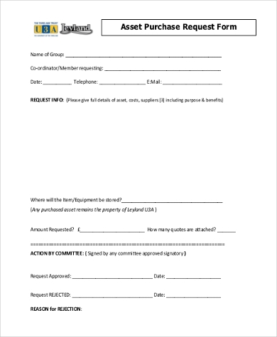asset purchase request form