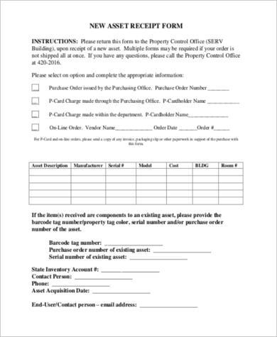 asset receipt form download