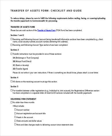 asset transfer checklist form