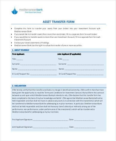 asset transfer form in pdf