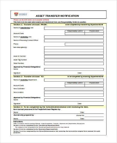 asset transfer notification form
