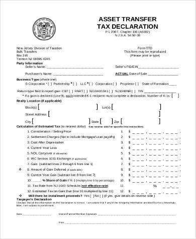 asset transfer tax form