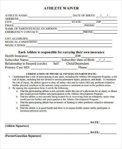 athlete waiver form in pdf