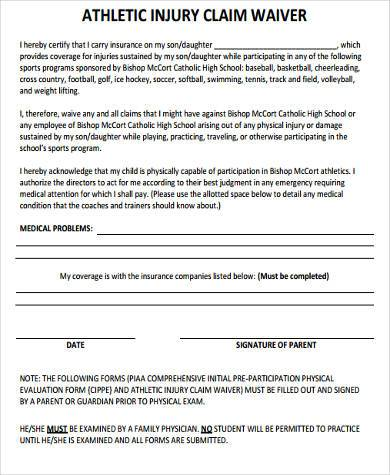 athletic injury waiver form