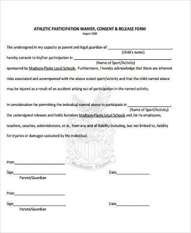 Sample Athlete Waiver Forms   Free Documents In Word Pdf