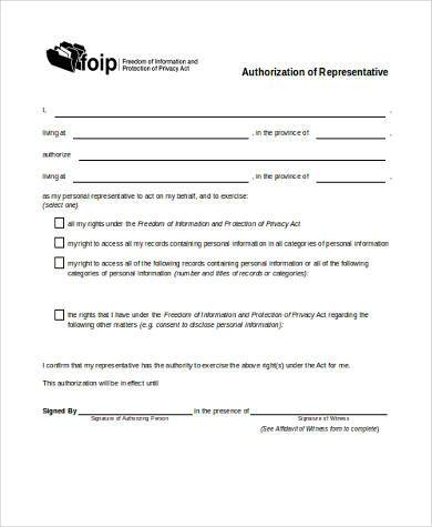 authorized representative form in word format
