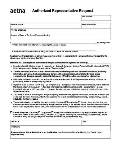 authorized representative request form