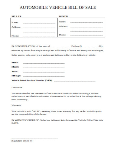 auto bill of sale sample