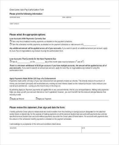 auto payment authorization form