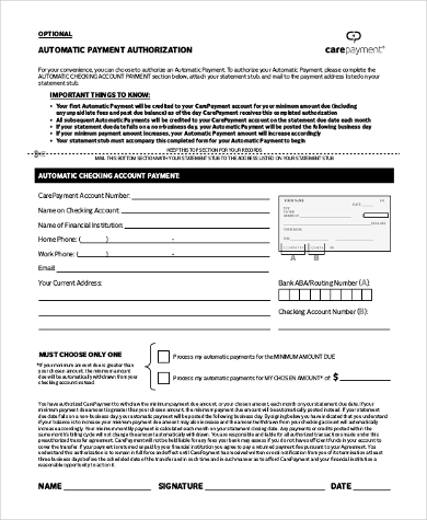 automatic payment authorization form