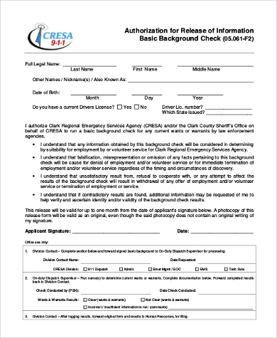 Sample Background Check Authorization Form   Free Documents In