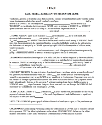 basic apartment rental agreement