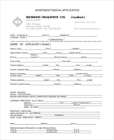 basic apartment rental application