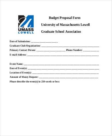 basic budget proposal form