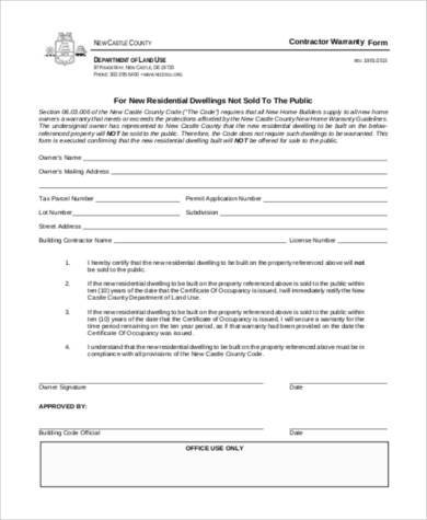 basic contractor warranty form