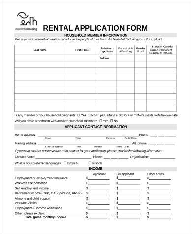Basic Rental Applications   Free Documents In Pdf