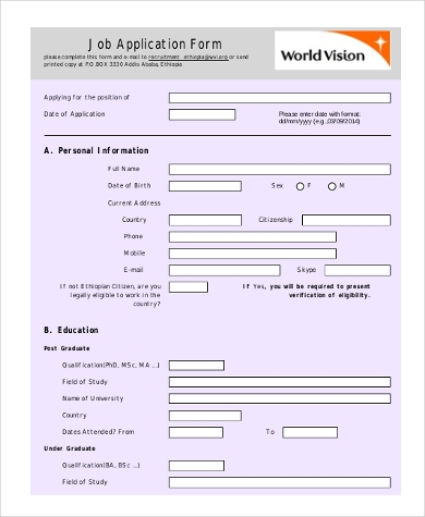 Standard Job Application Form Samples   Free Documents In Word Pdf