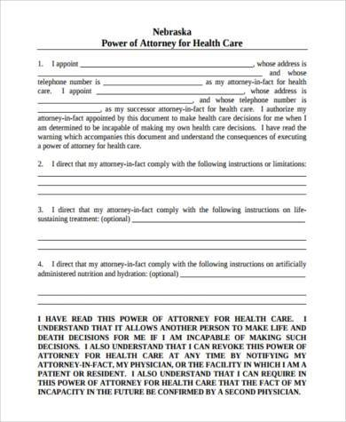 Medical Power Of Attorney Form Samples   Free Documents In Pdf