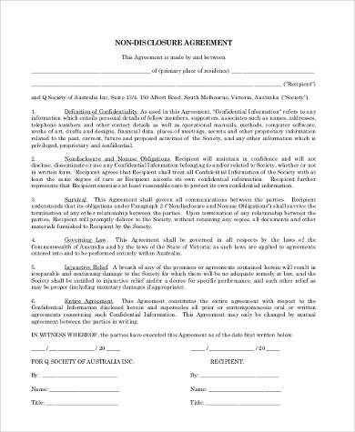 basic nda template - non disclosure agreement form samples 8 free documents