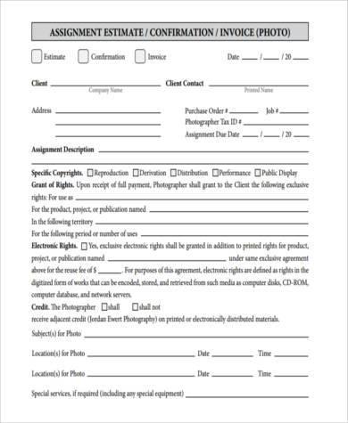 basic photography invoice