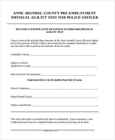 basic pre employment physical form
