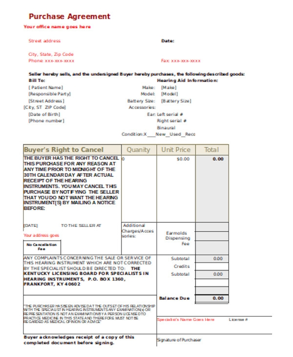 basic purchase agreement form