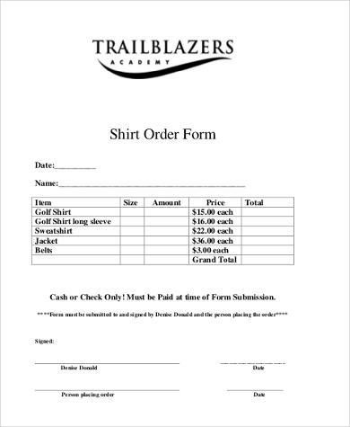 basic shirt order form