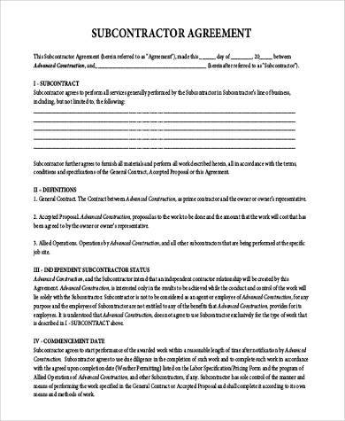 Need a subcontractor agreement 39 free templates here 15 for Subcontracting contract template