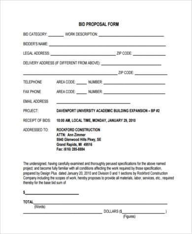 bid proposal form in pdf