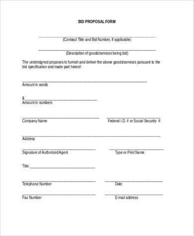 bid proposal form in word format