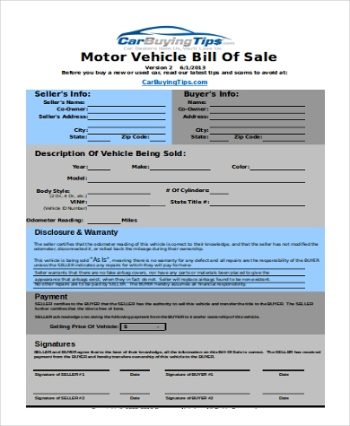 Bill Of Sale For Car   Free Documents In Pdf Xls