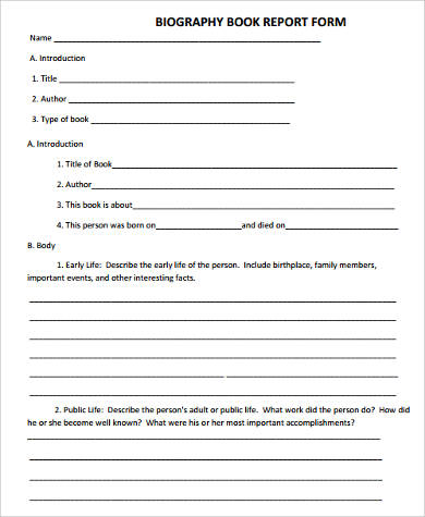 biography book report form