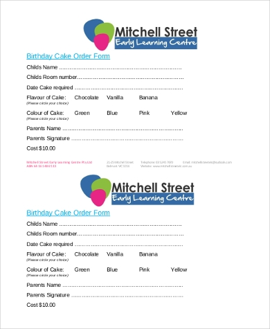 birthday cakes order form