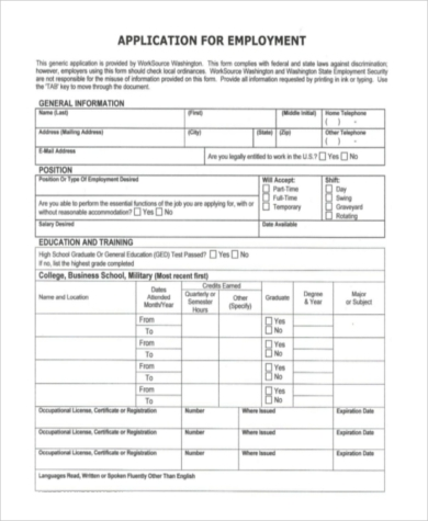 Blank Employment Application Sample   Free Documents In Word