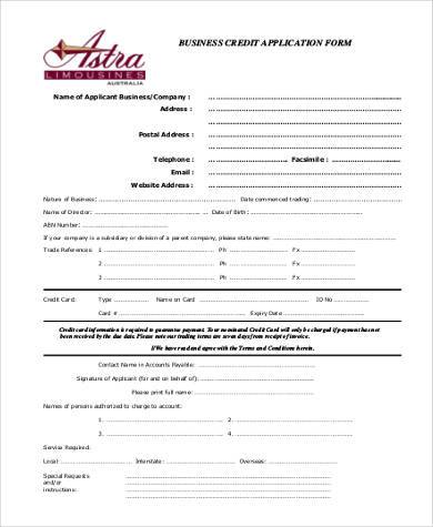 Free 8 Business Credit Application Form Samples Pdf