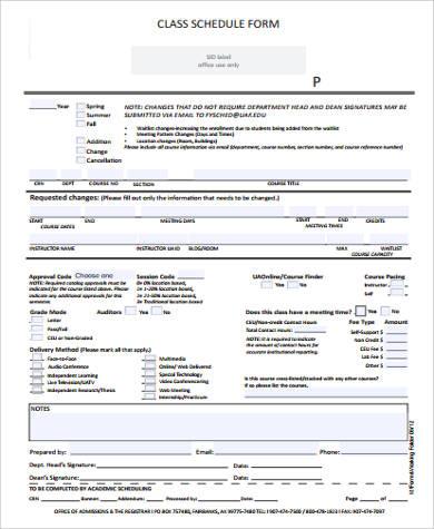 blank class schedule form1