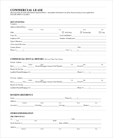 blank commercial lease form